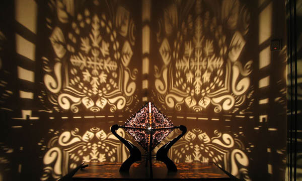 Shadow Lamp: Beautiful Crafted Wooden Lamp Cast Intricate Shadows on Surrounding