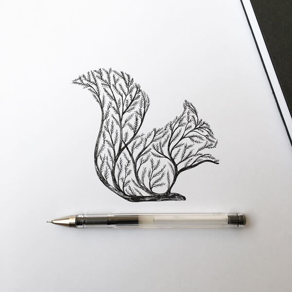 Poetic Illustrations Depict Magic Scene That Trees Sprout Into Animal Shapes