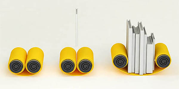 Scroll Bookshelf: Holding Book Flexibly with Rolled Up Metal Sheet