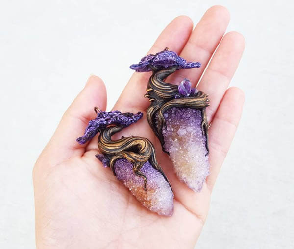 Magical Forest Themed Hand Sculpted Crystal Jewelry