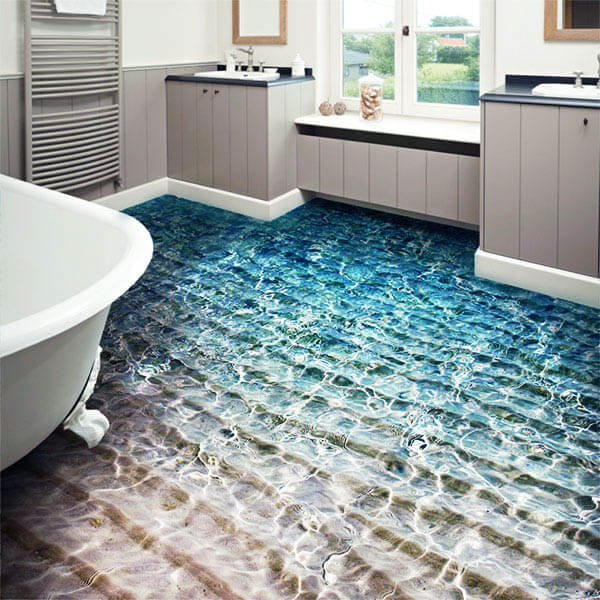 3d flooring good or bad interior design trend design swan for Bathroom floor mural