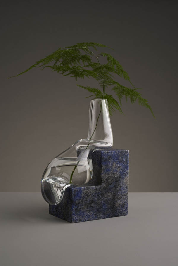Unusual Glass Vases by Studio E.O Look Like Melting Atop Cut Stone