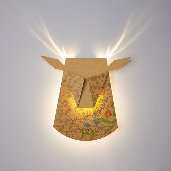 Popup Lighting - Folded Lamps Project Feathers and Antlers When Lightened Up