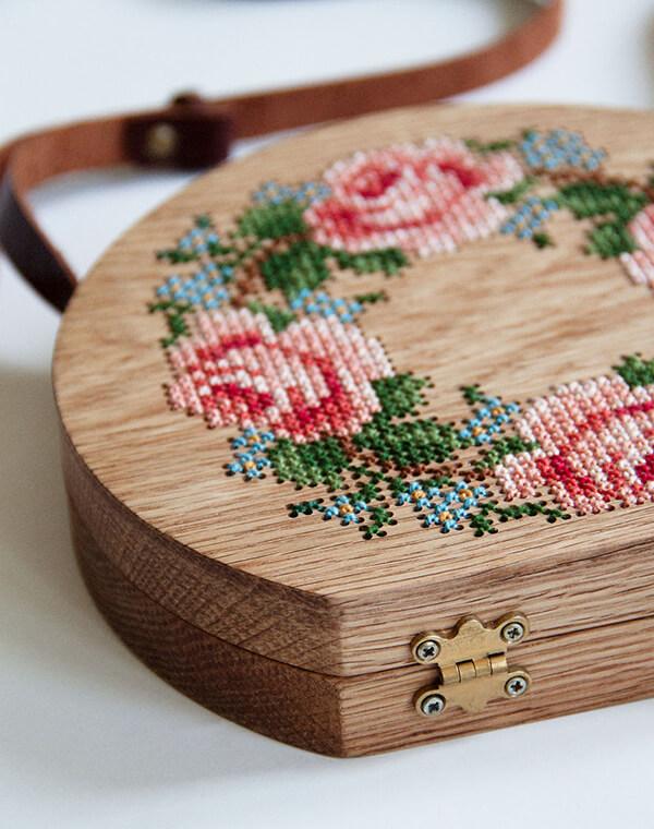 Cross-stitch Wooden Bags by GRAV GRAV