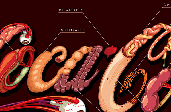 Internal Organs Drawn in the Shape of Coca-Cola Logo Indicates the Harm Caused by Drinking the Soda