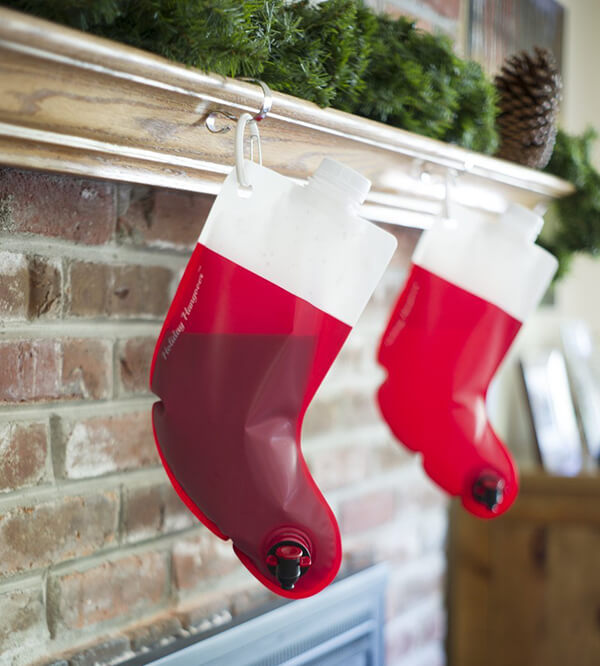 Santa's Flask: The Stocking Shaped Wine Bag is The Ultimate Christmas Stocking