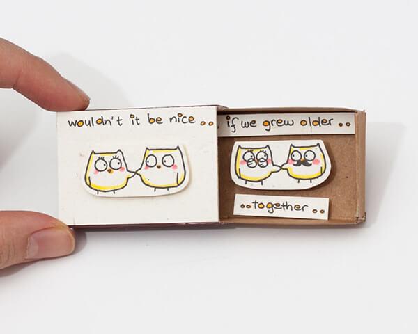 Playful Matchbox Greeting Cards with Hidden Message