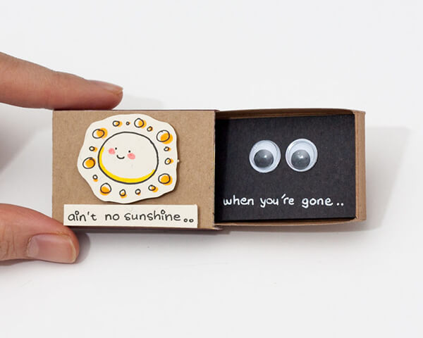 Playful Matchbox Greeting Cards with Hidden Message