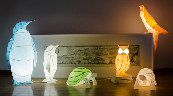 Origami Inspired Paper Animal Lamps