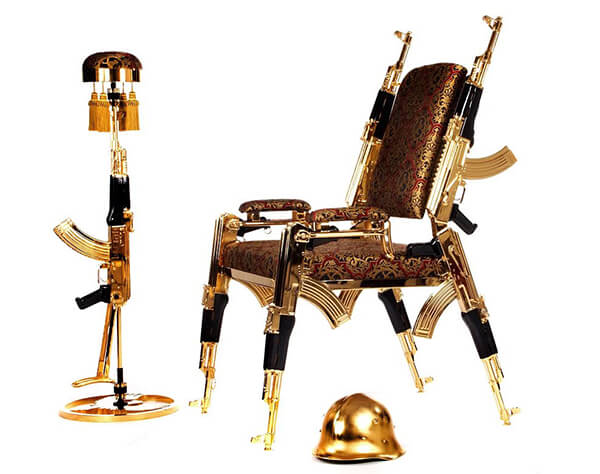 Gold Plated Chair Made from Six AK-47 Rifles
