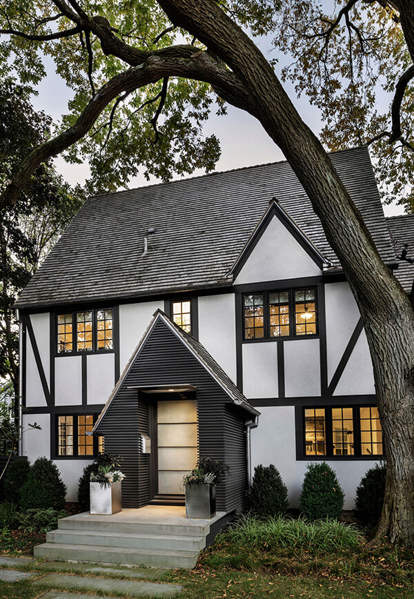 Ultramodern Addition To Traditional Home: Unique Tudor Style Residence With A Modern Addition In Rye, New York
