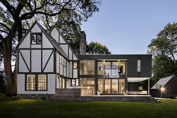 unique tudor style residence with a modern addition in rye  new york