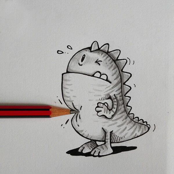 Drogo, the Adorable Illustrated Dragon is Exploring Our World