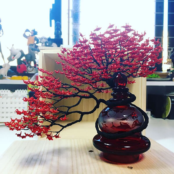 Colorful Bonsai Trees Made of Thousands of Miniature Origami Cranes