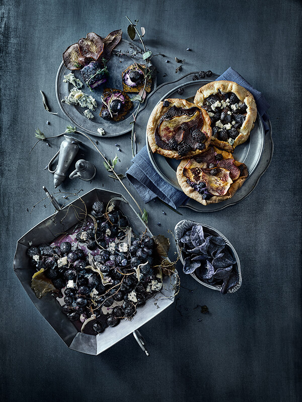 Beautiful Still Food Photos in Black, Blue and White Tone