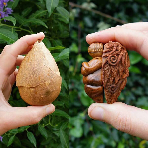 Miniature Sculptures Carved Out of Avocado Pit – Design Swan