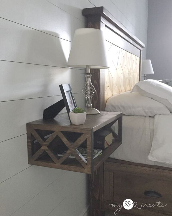 Cool floating nightstand ideas for your bedroom design swan for Wall mounted nightstand diy