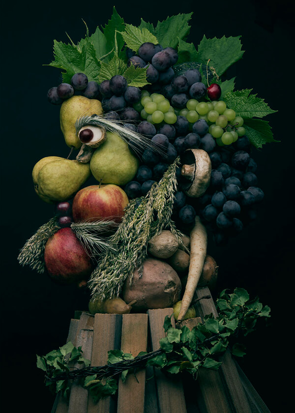 Realistic Portrait Made Out Of Fruits and Vegetables
