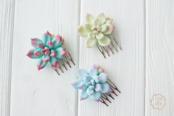 Realistic Clay Succulents Shaped Jewelry
