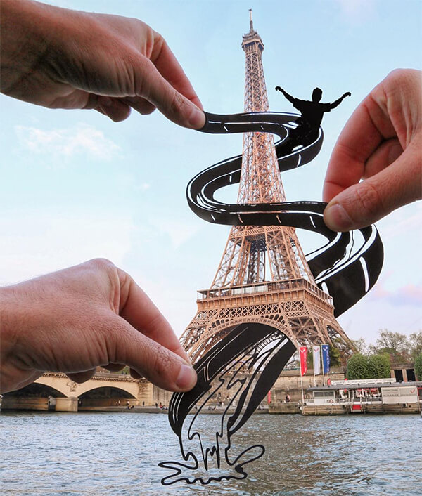 When World's Landscapes Meet Playful Paper Cut-Outs from Rich McCor