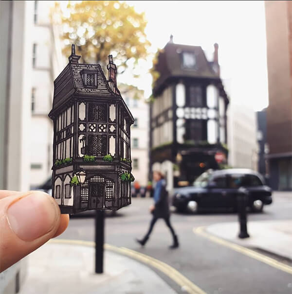 Cut-out Drawings of London's Oldest Building by Maxwell Tilse