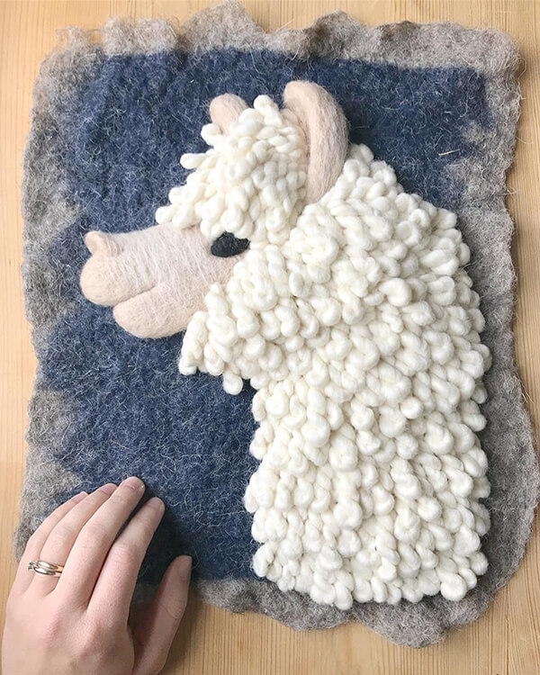 3D Felted Animal Paintings by Holly Guertin