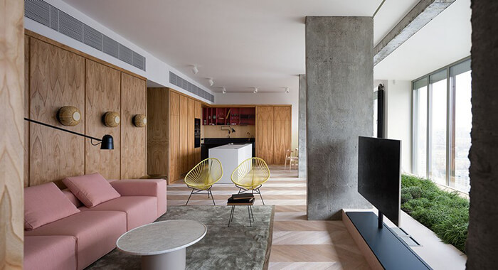 Unusual Concrete Apartment in Kiev, Ukraine