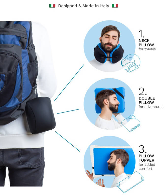 OMNI Travel Pillow: Three Sleeping Possibilities