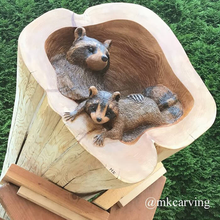 Adorable Forest Animals Sculptures Crawling Out of Fallen Logs