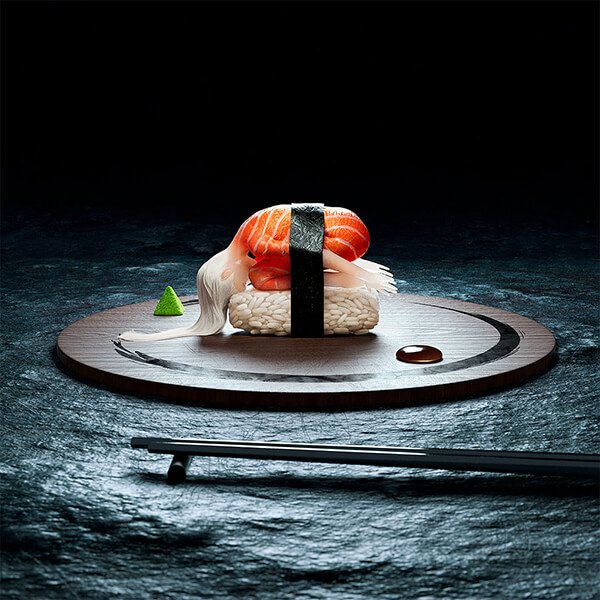 Digital Art of Human Sushi Yoga by Cristian Girotto and Olivier Masson