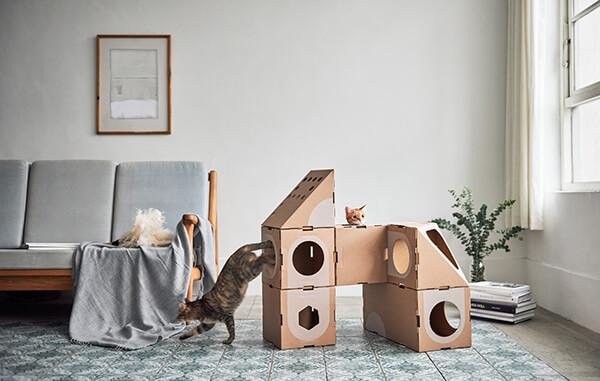 Modular Cardboard Cat Box Furniture