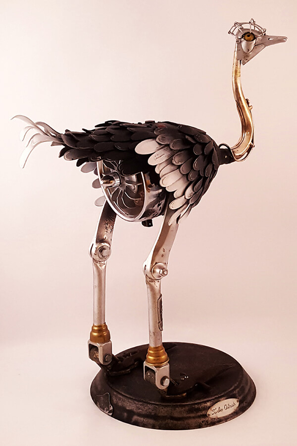 Whimsical Steampunk Animal Sculptures Created from Trash