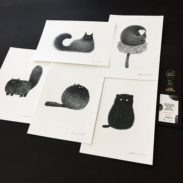 Ink Drawing Fluffy Cats by Kamwei Fong