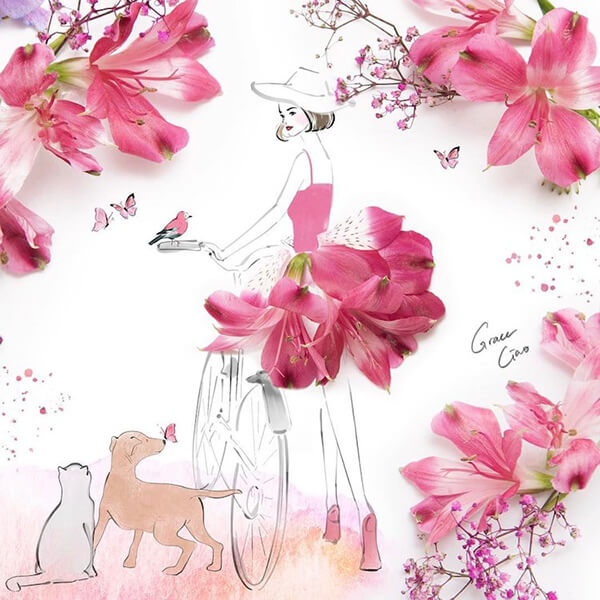 Floral Fashion Illustration Made of Real Flower Pedal