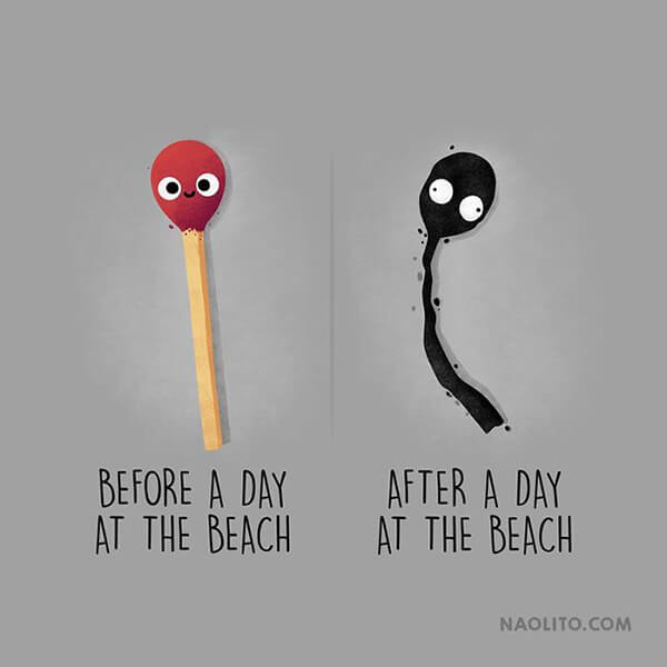 Witty Before & After Comparison Illustration by Nacho Diaz
