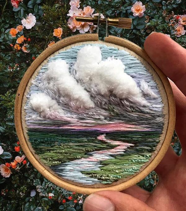 Vibrant 3D Embroidered Landscapes Russian artist Vera Shimunia