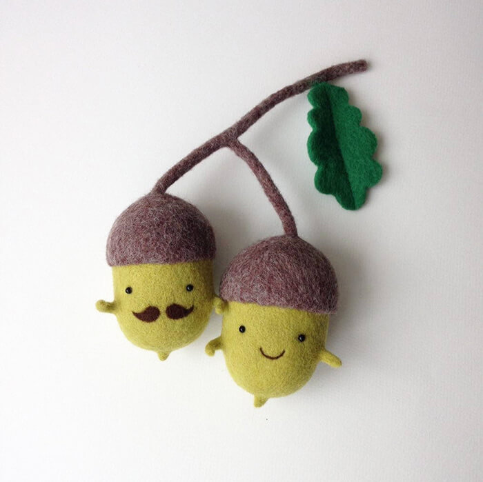 Cute Needle Felted Vegetables and Food by Hanna Dovhan