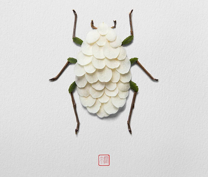 Beautiful Animal and Insects Made of Flower Petals and Stems