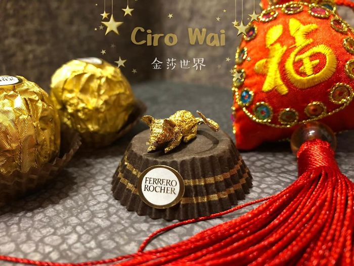 Creative Miniature Animal Sculptures Made Out Of Ferrero Rocher Packaging