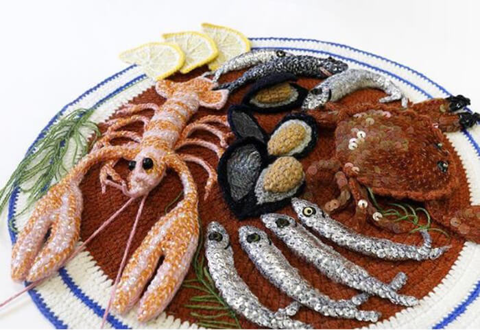 Kate's Place the Stitchmongers: Crocheted Seafood Shop By Kate Jenkins