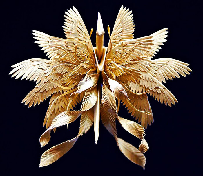 Paper Cranes with Stunning Feathery Details