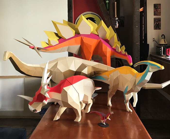 Build Your Own 3D Paper Dinosaur Models
