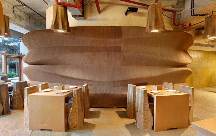 Cardboard Bombay, a Cafe which Uses Corrugated Cardboard to Form the Furnishings and Furnishes