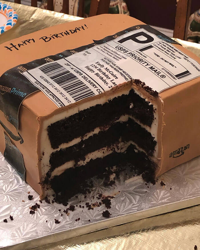 Surprising Birthday Cake Looks Like an Amazon Package Box From a Thoughtful Husband