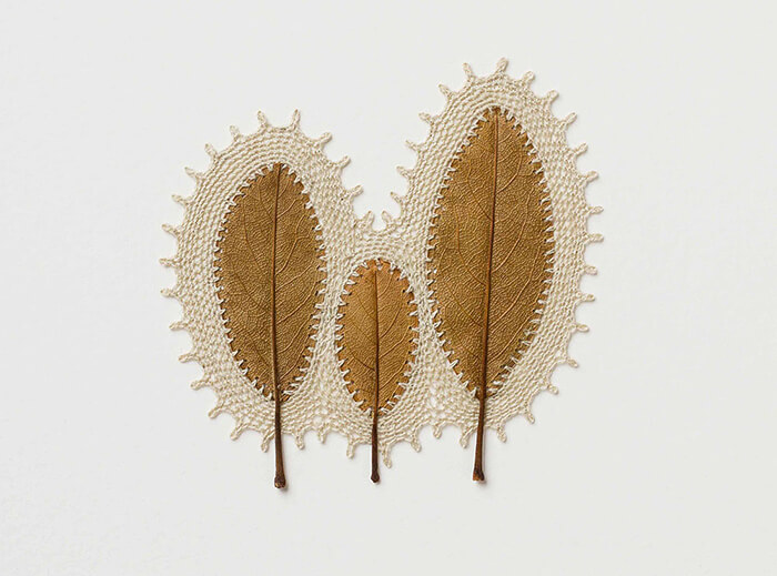 Stunning Crocheted Leaf Sculpture by Susanna Bauer
