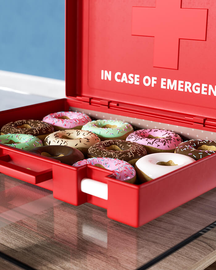 In case of emergency - donuts first-aids