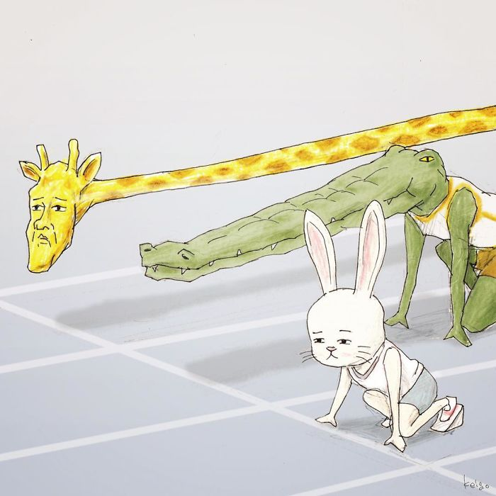Hilarious Illustration about Giraffe's Daily Life