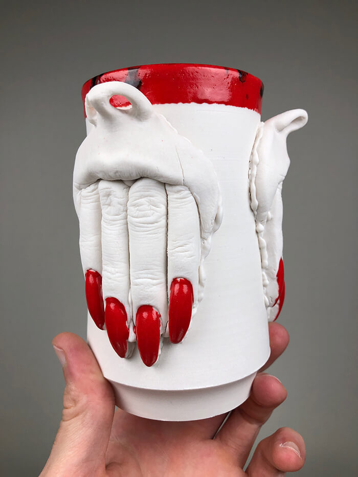 Creepy Glazed Porcelain Tableware by Curran Wedner