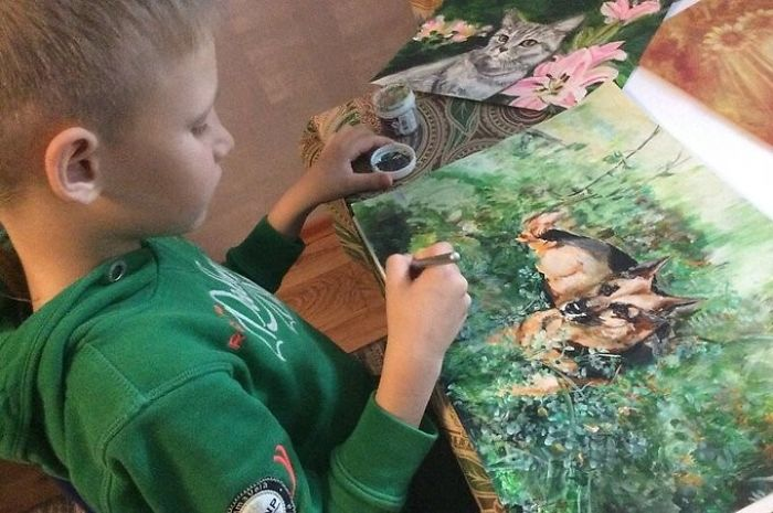 9-Year-Old Boy Paint Custom Pet Portrait in Exchange for Pet Food and Supplies for Shelter Animal