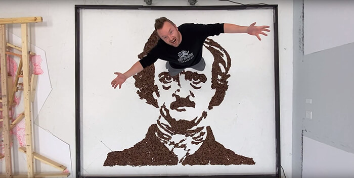 Edgar Allan Poe Made with 7,000 Worms by Phil Hansen